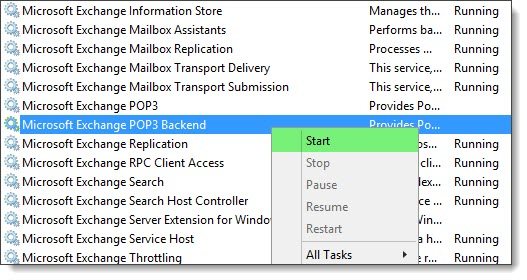 MSExchange POP3 Backend 1018 - The address is already in use. Binding 9995 C
