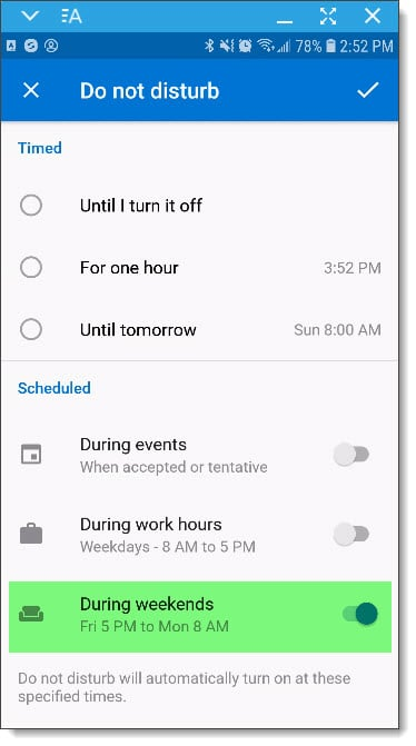 Intelligent Do Not Disturb in Outlook mobile app - SuperTekBoy