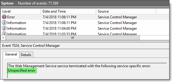 Web Management Service (WMSvc) could not be started: 2147483640