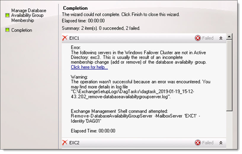 The following servers in Windows Failover Cluster are not in